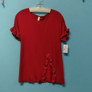 NY Collection red ruffle trim tee XS XL NWT